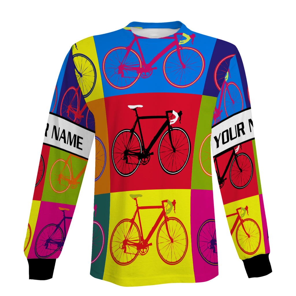Colorful Cycling Customized Long Sleeve, Zip Up Hoodie, Hoodie Gift For Men