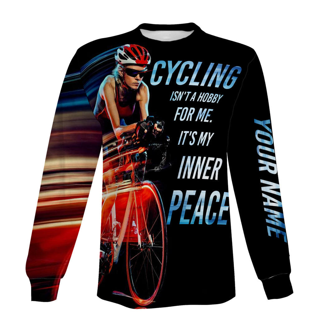 Men's Personalized Long Sleeve, Zip Up Hoodie, Hoodie Cycling Isn't A Hobby For Me It's My Inner Peace