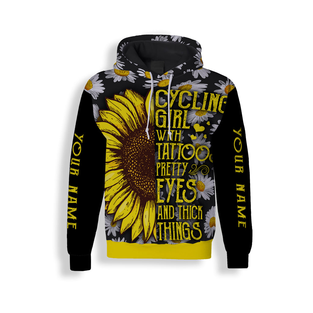Cycling Girl With Tatoos Pretty Eyes And Thick Things Long Sleeve, Hoodie and Zip Up Hoodie- Personalized Jersey For Men