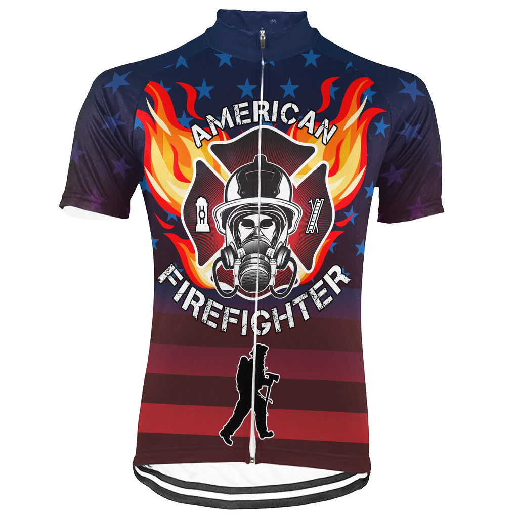Customized Firefighter Short Sleeve Cycling Jersey for Men