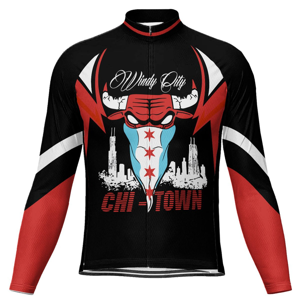 Customized Chicago Long Sleeve Cycling Jersey for Men