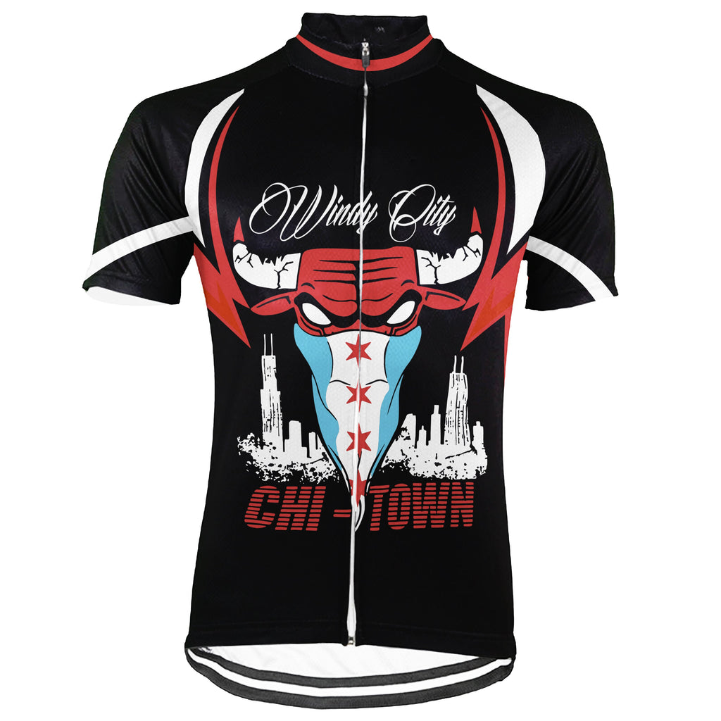 Customized Chicago Short Sleeve Cycling Jersey for Men