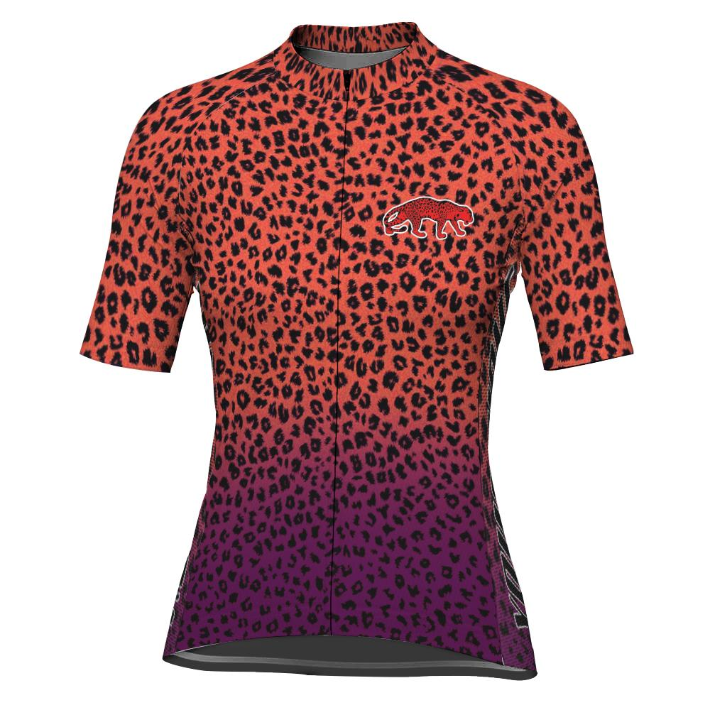 Customized Cheetah Short Sleeve Cycling Jersey for Women