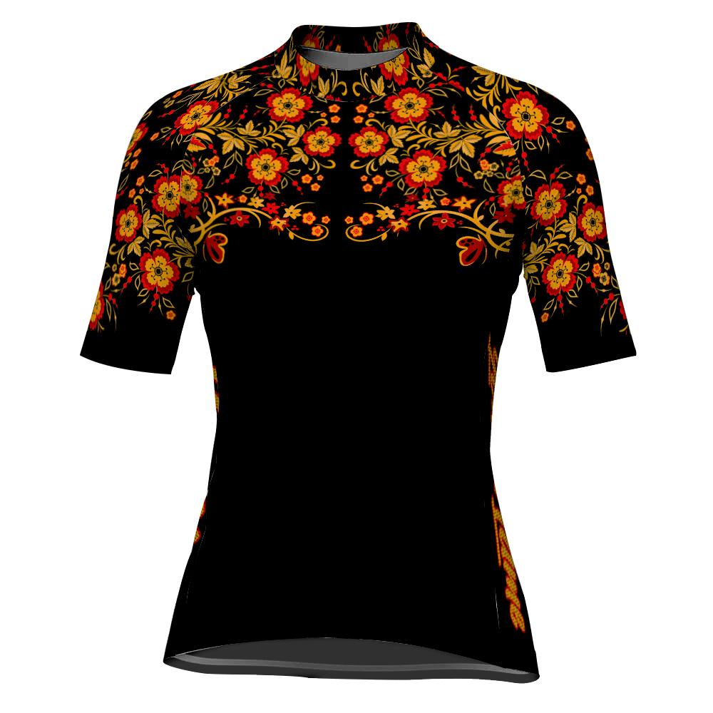 Customized Flower Short Sleeve Cycling Jersey for Women