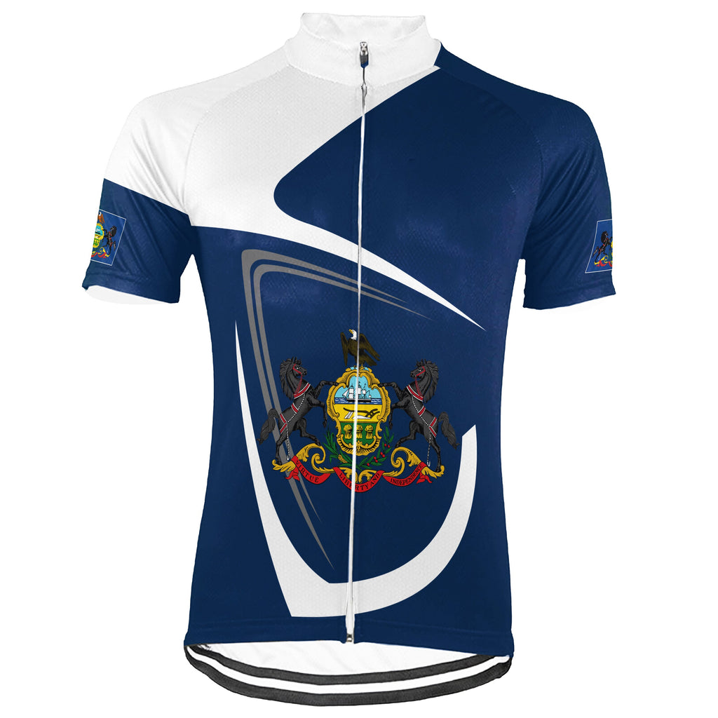 Customized Pennsylvania Short Sleeve Cycling Jersey for Men