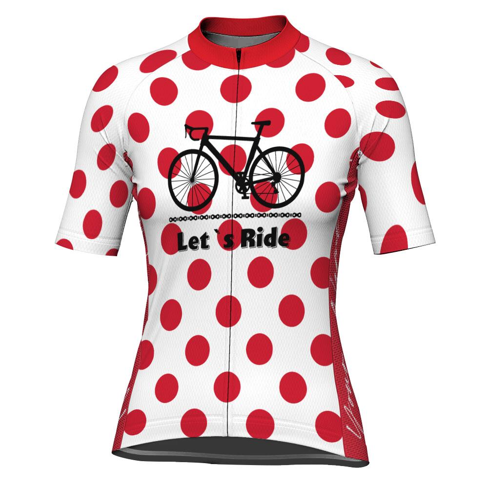 Customized Polka Dot Short Sleeve Cycling Jersey for Women