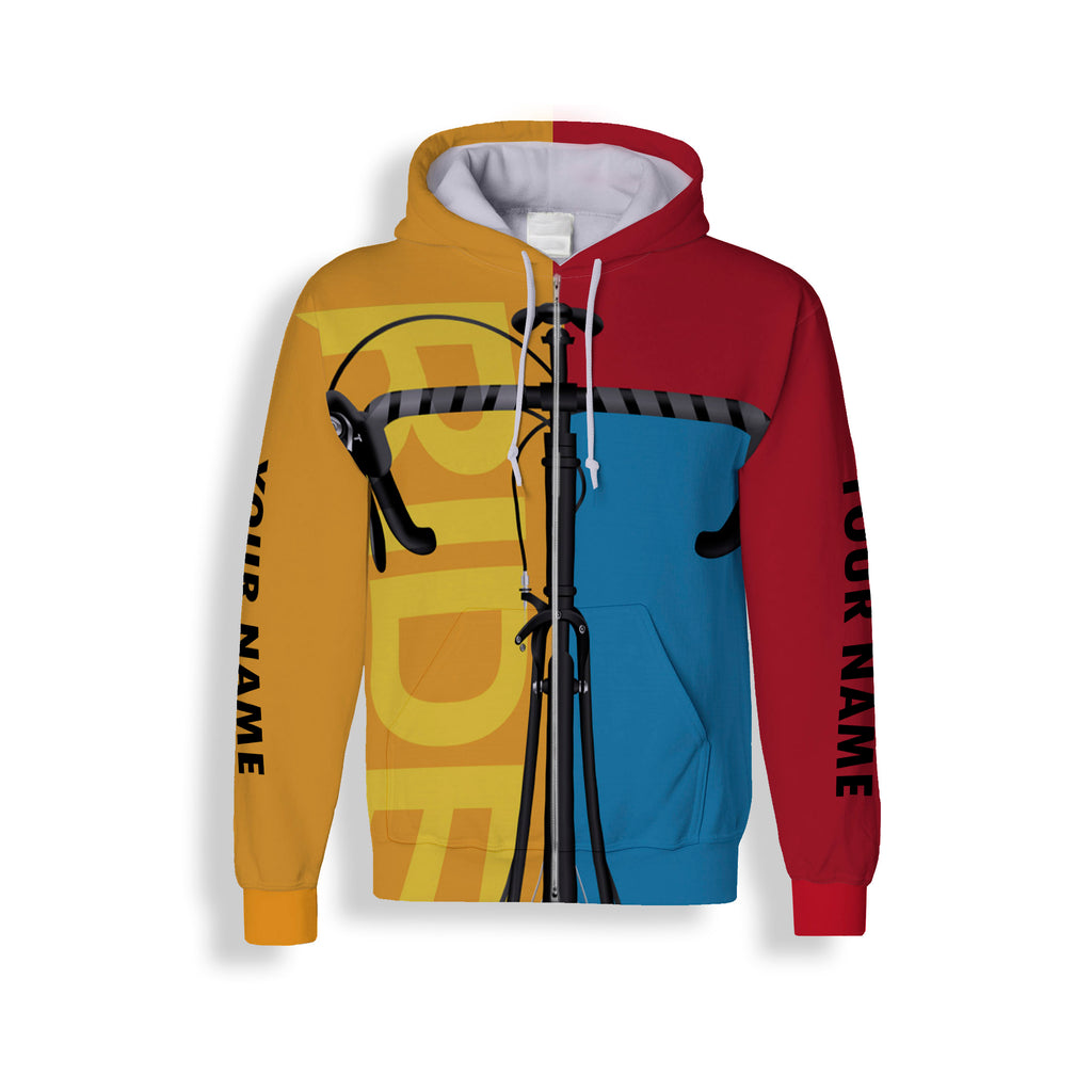 Three-Color Customized Cycling Jersey Long Sleeve, Zip Up Hoodie, Hoodie Great Gift For Men