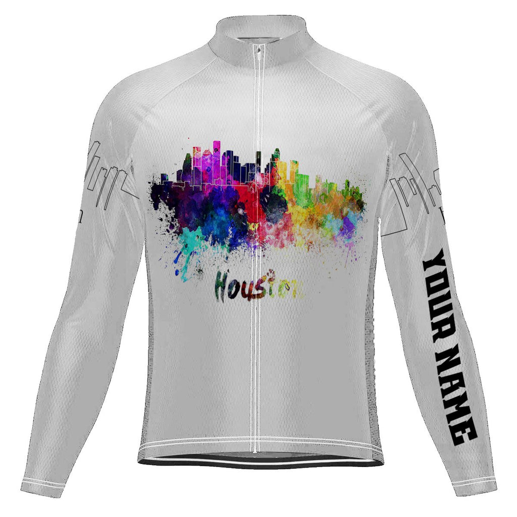 Customized Houston Long Sleeve Cycling Jersey for Men