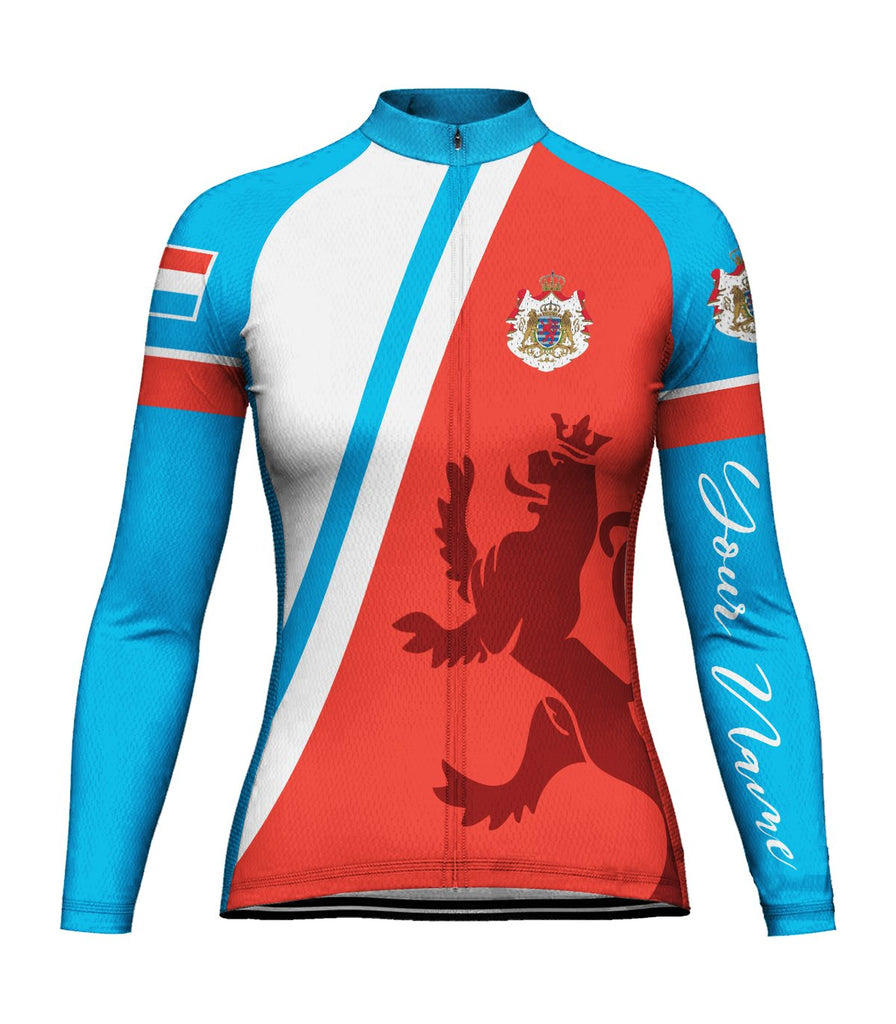 Customized Luxembourg Long Sleeve Cycling Jersey for Women