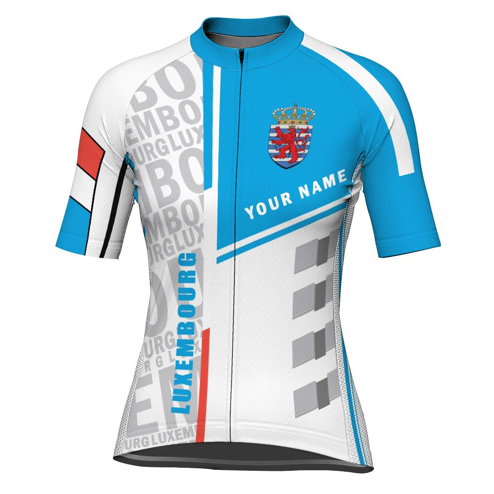 Customized Luxembourg Short Sleeve Cycling Jersey for Women