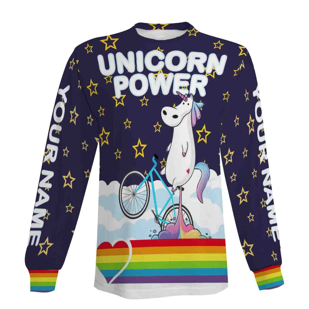 Unicorn Power Cycling Short Sleeve, Long Sleeve, Hoodie and Zip Up Hoodie- Men's Biking Jersey with Custom Name