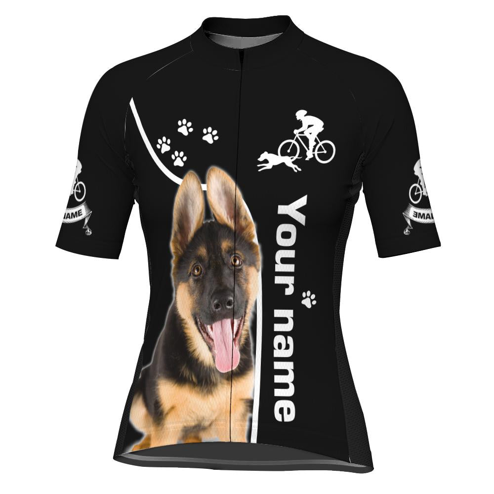Customized Image Dog Short Sleeve Cycling Jersey for Women