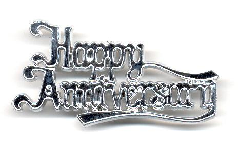 TOPPER HAPPY ANNIVERSARY SILVER