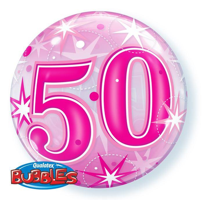 BALLOON BUBBLE 56CM 50TH BIRTHDAY PINK