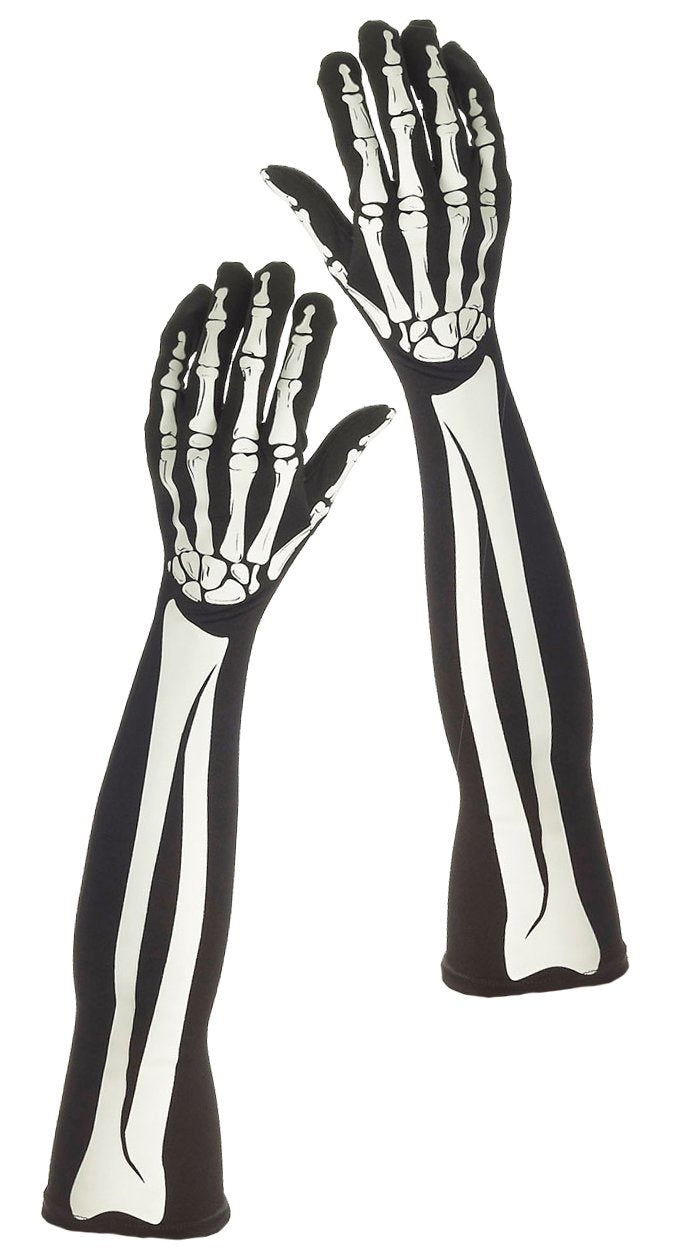 GLOVES SKELETON LONG ADULT SIZE