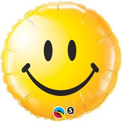 BALLOON FOIL 45CM SMILEY FACE YELLOW