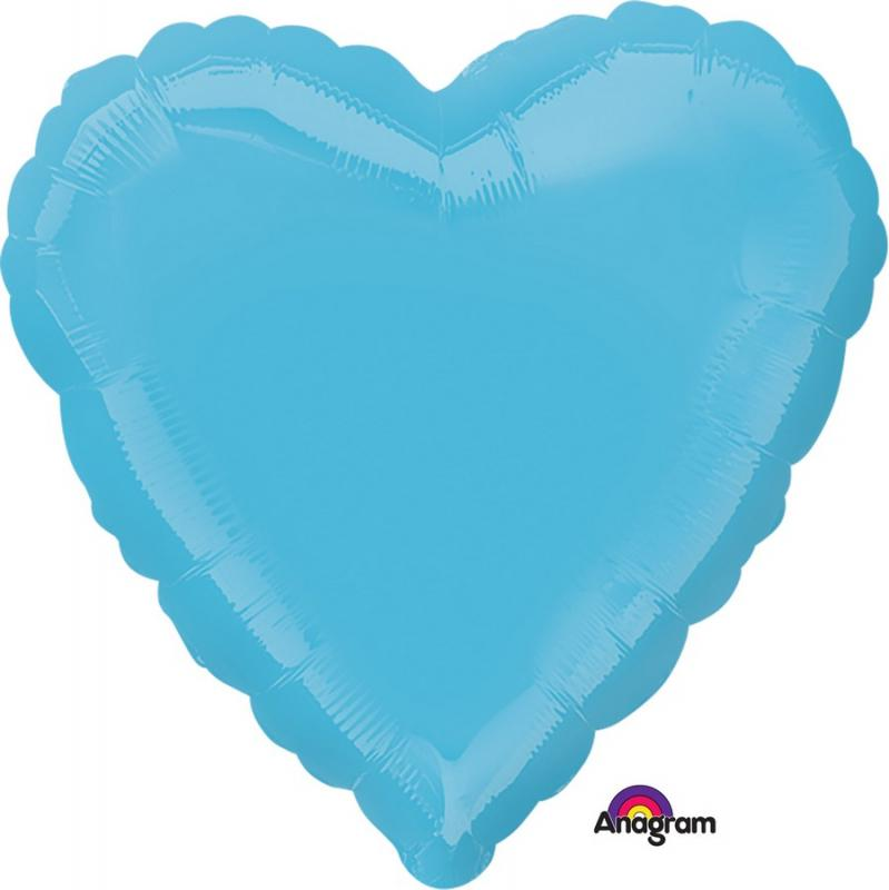 BALLOON FOIL 45CM HEART CARIBBEAN BLUE