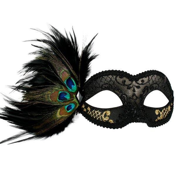 MASK ADRIANNA BLACK & GOLD FEATHER