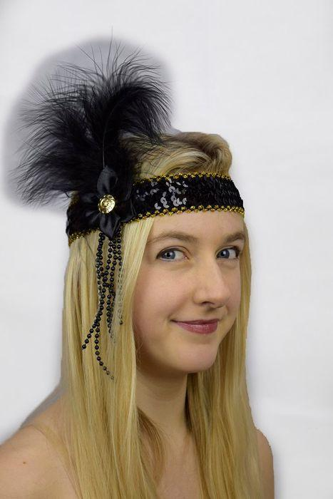 HEADBAND FLAPPER DELUX BLACK FLOWER