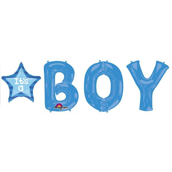 BALLOON FOIL SHAPE BOY LETTER BUNCH