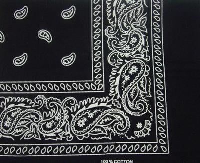 BANDANNA BLACK 50 X 50CM COTTON