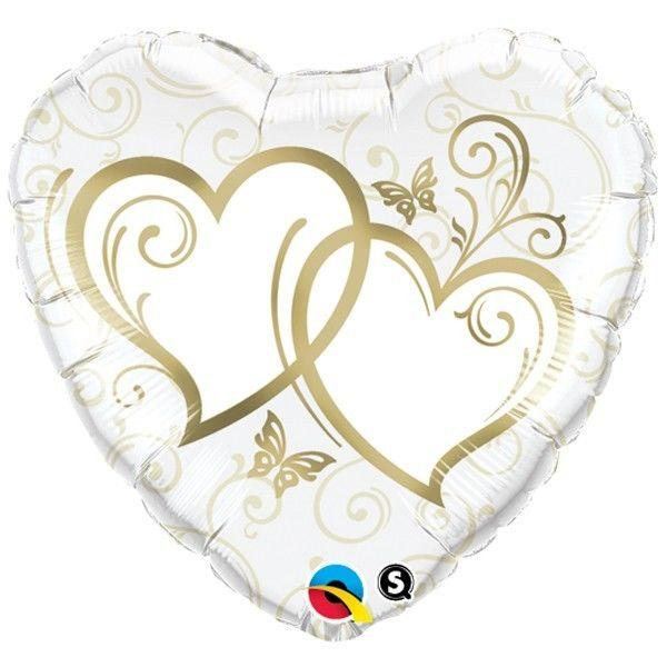 BALLOON FOIL 45CM ENTWINED HEARTS GOLD
