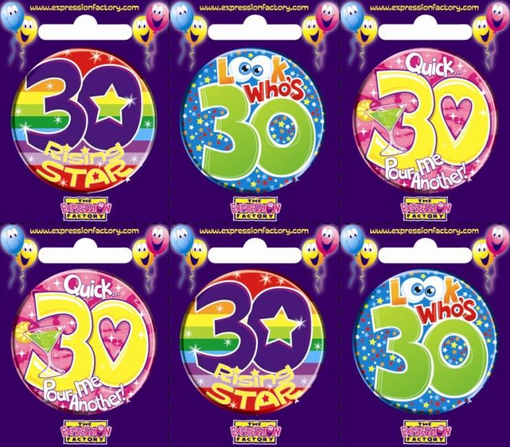 BADGE 30TH BIRTHDAY ASSORTED EACH