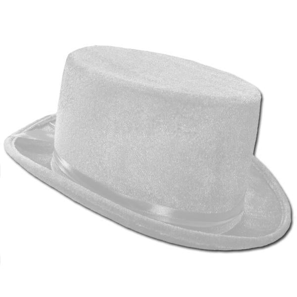 HAT TOP VELVET WHITE 13CM HIGH