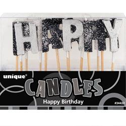 CANDLE HAPPY BDAY GLITTER BLACK/SIL