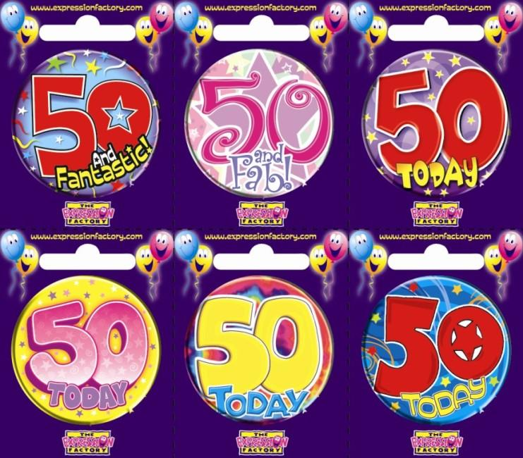 BADGE 50TH BIRTHDAY ASSORTED EACH