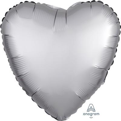BALLOON FOIL 45CM HEART PLATINUM SATIN