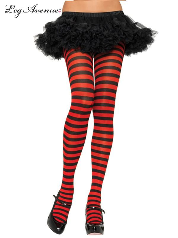 PANTYHOSE BLACK/RED STRIPED