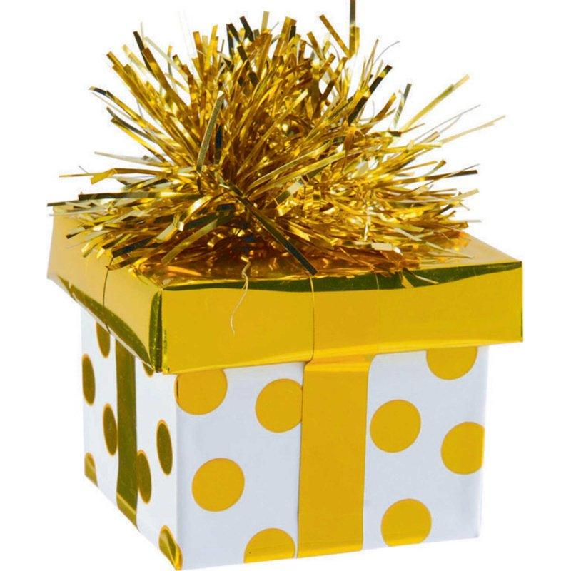 BALLOON WEIGHT GIFT BOX GOLD DOTS