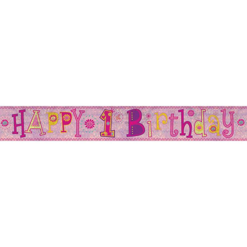 PINK 1ST FIRST BIRTHDAY BANNER FOIL