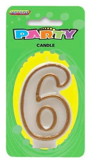 CANDLE NUMBER 6 GOLD