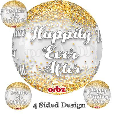 BALLOON FOIL SHAPE ORBZ WEDDING - Discontinued Line Last Chance To Buy