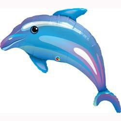 BALLOON FOIL SHAPE DOLPHIN BLUE 105CM