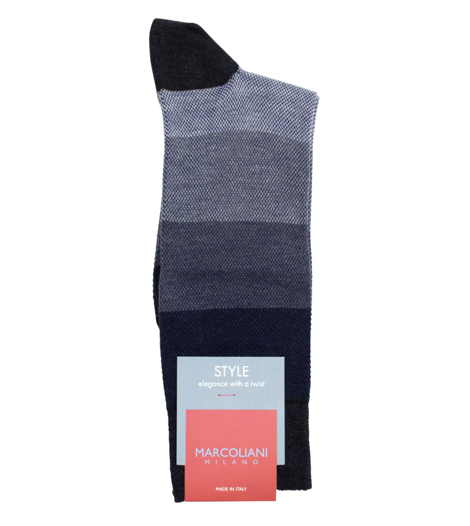 MARCOLIANI Pima Cotton Pique Color Blocking Grey Mix