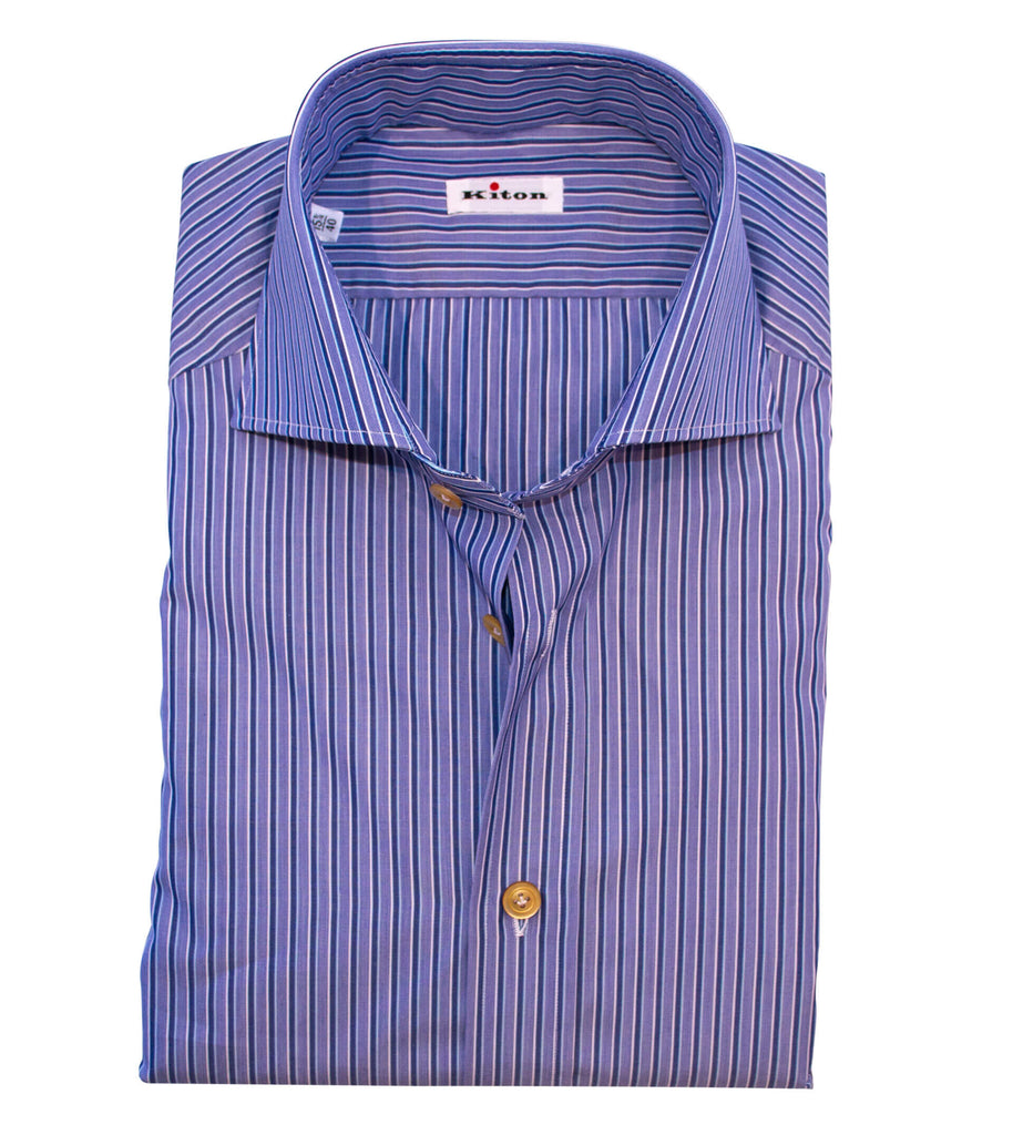 KITON Shirt Cotton Navy Stripe