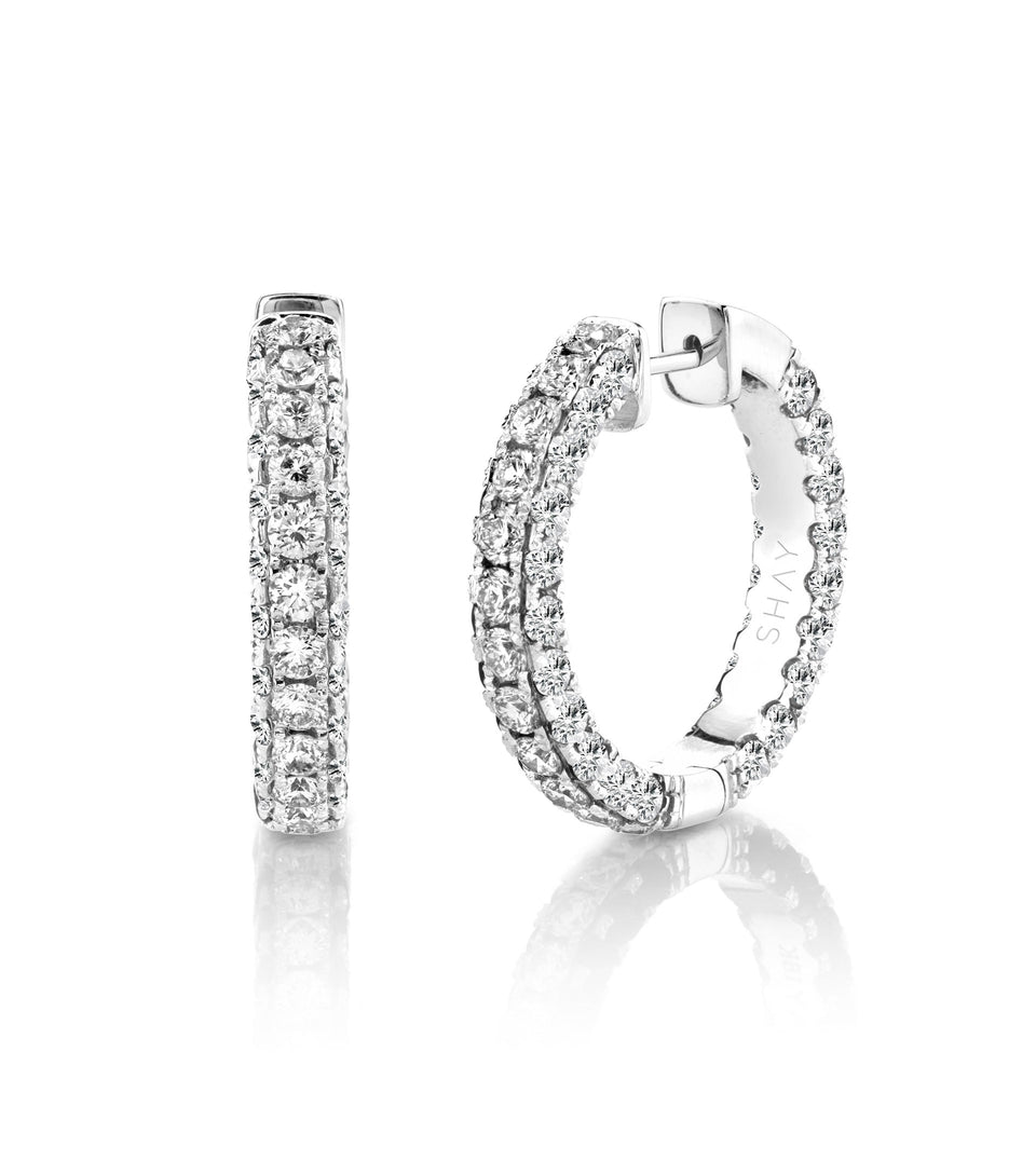 Shay Jewelry 3 Sided Diamond Hoops
