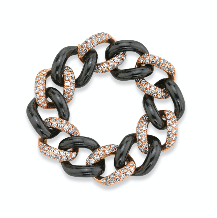 SHAY Pave and Ceramic Medium Link Ring