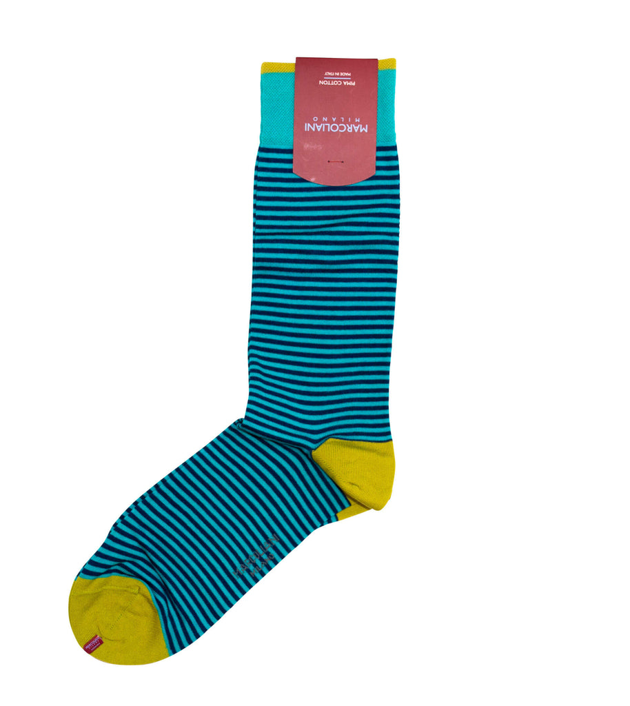 MARCOLIANI Pima Cotton Lisle Palio Stripe Aqua