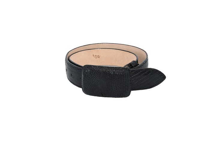 Mens Texas Country Exotic Black Lizard Belt