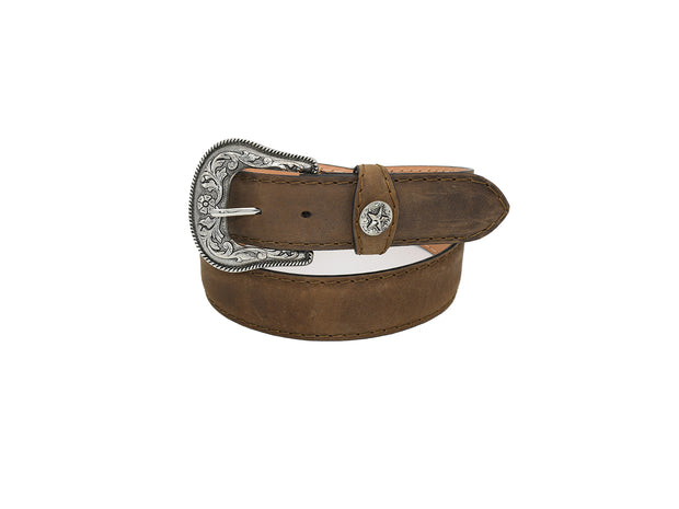 Mens Texas Country Western Leather Belt Chocolate Star 1901