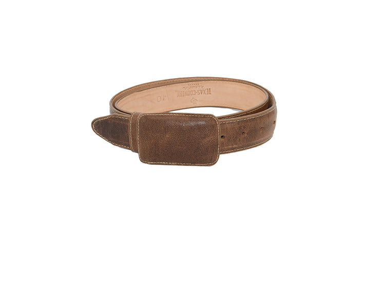 Mens Texas Country Western Leather Belt Tan