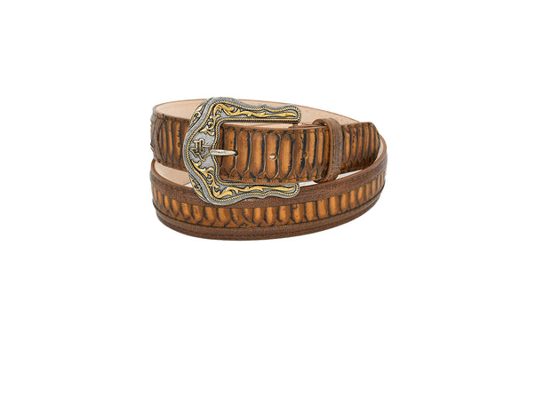 Mens Texas Country Western Python Print Leather Belt 594