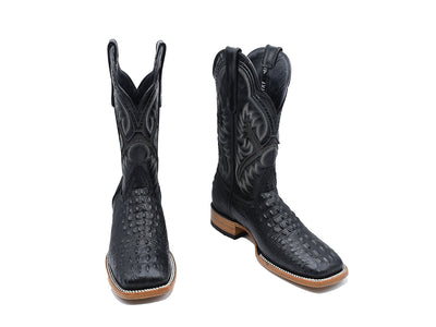 Texas Country Caiman Belly Print Leather Western Boot Fuscus