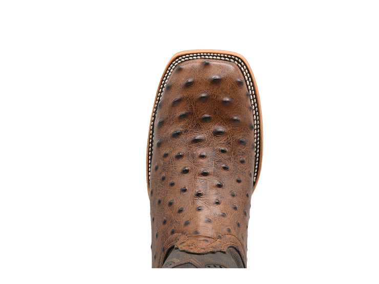 Texas Country Ostrich Print Leather Western Boot E670