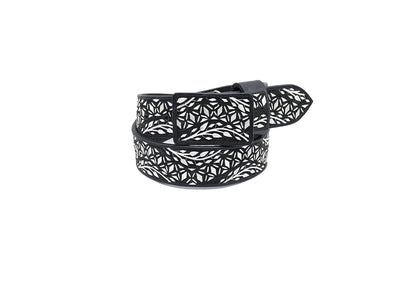 Charro Western Belt embroidered with Silver Thread