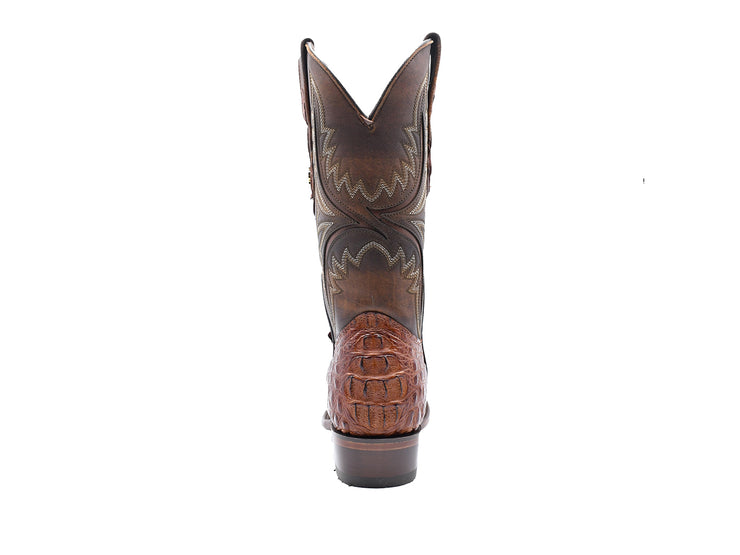 Texas Country Caiman Back Western Boot, Round Toe Brandy